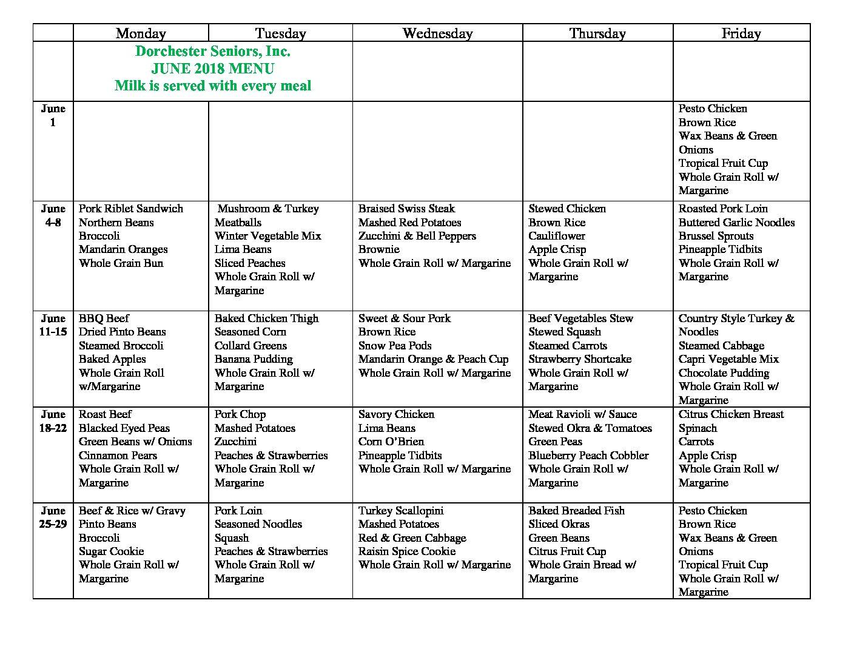 June lunch calendar