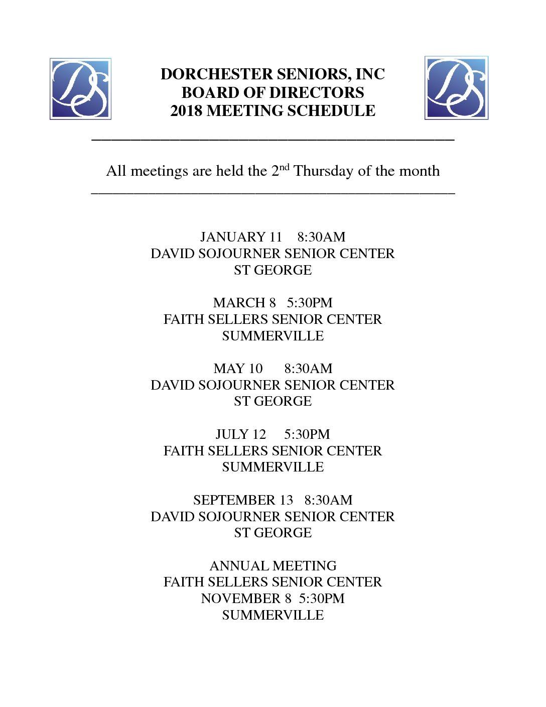 Dorchester seniors board of directors 2018 meting schedule