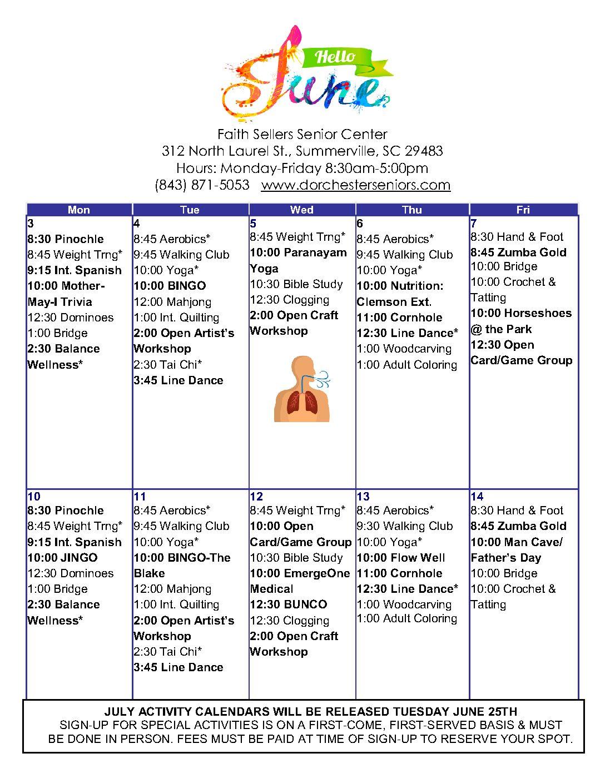 Faith Sellers Senior Center Calendar of activities for June 2019