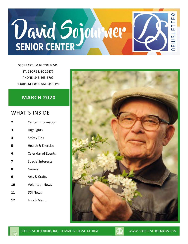 March 2020 newsletter for St. George Senior Center