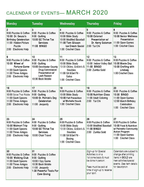 calendar for March 2020 activities